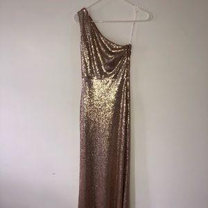 Rose Gold Sequin One-shoulder dress